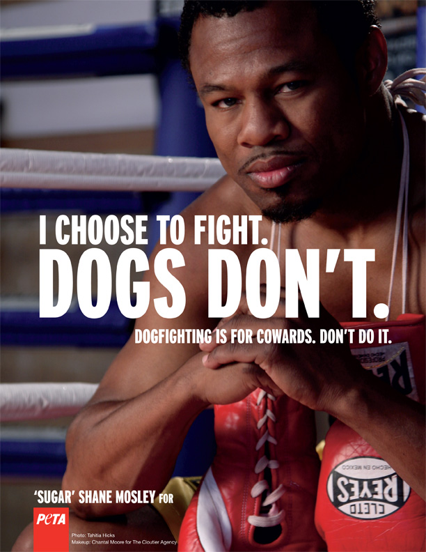 Sugar Shane Mosley helping PETA fight against dog fighting