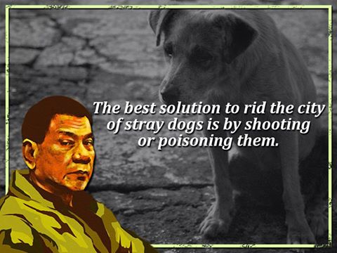 Davao City mayor and probable new Philippine president Duterte comments on stray animals