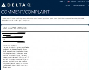 "Delta and ""trophy hunting"""