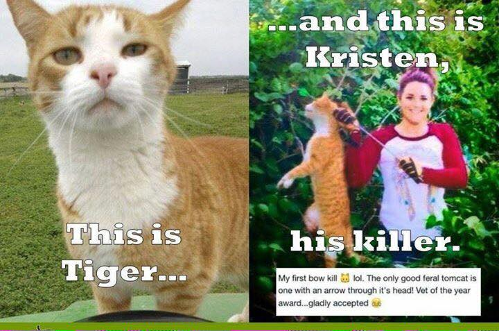 Kristen Lindsey holding Tiger, the neighbors cat she murdered with bow & arrow